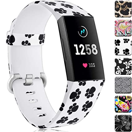 Maledan Compatible with Fitbit Charge 3 Bands, Paw Print, Large