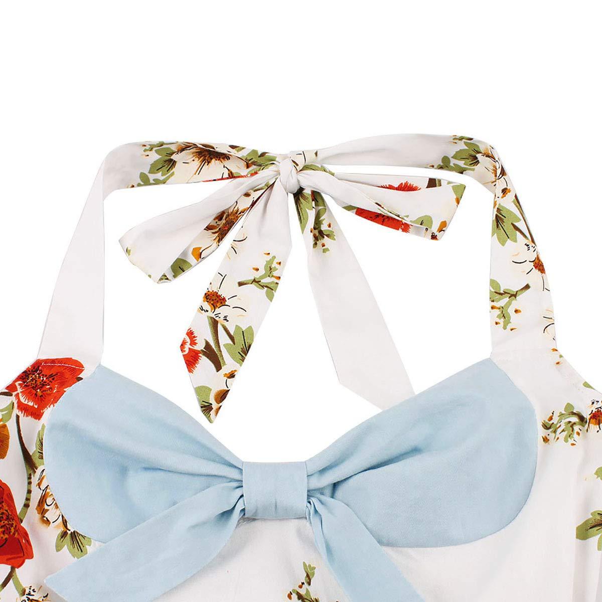 FTVOGUE Vestido de Oscilaci/ón Vintage Cuello Colgante Cofre de Arco Vestido de Costura de Estampado Floral