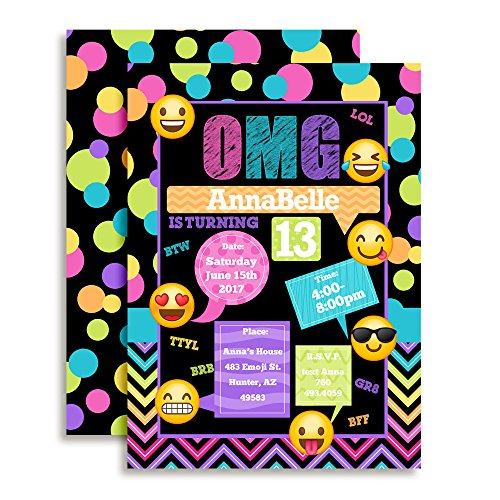 Emoji Texting Colorful Polka Dot Custom and Personalized Birthday Invitations set of 20 including envelopes Perfect for Tweens and Teens