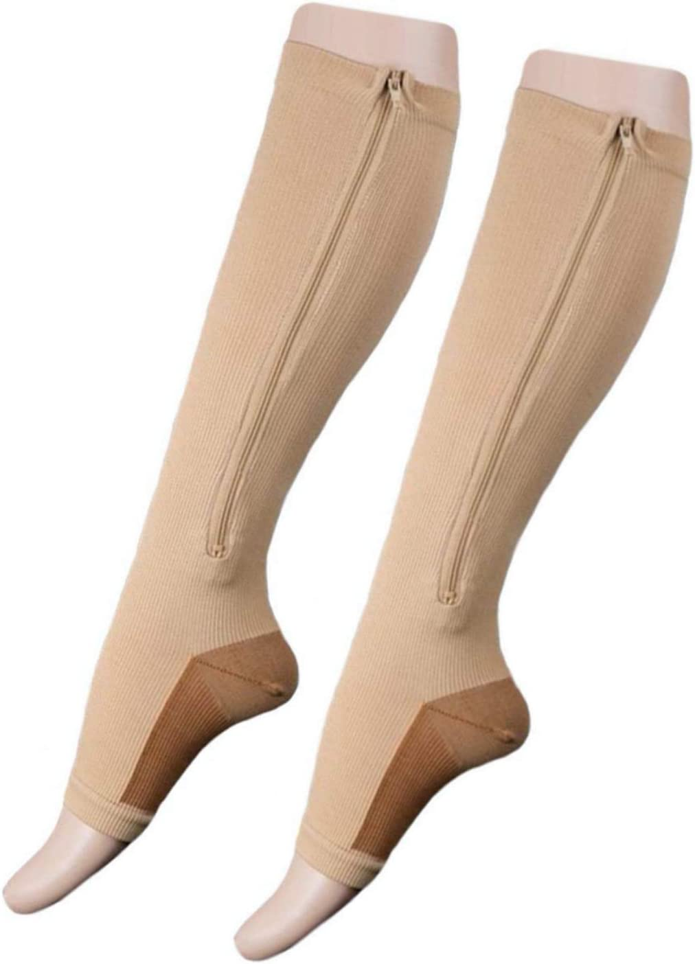 Presadee Kid's Edition Copper Infused Zipper Compression Active Full Leg Protection Improve Circulation Socks (Beige, L/XL)