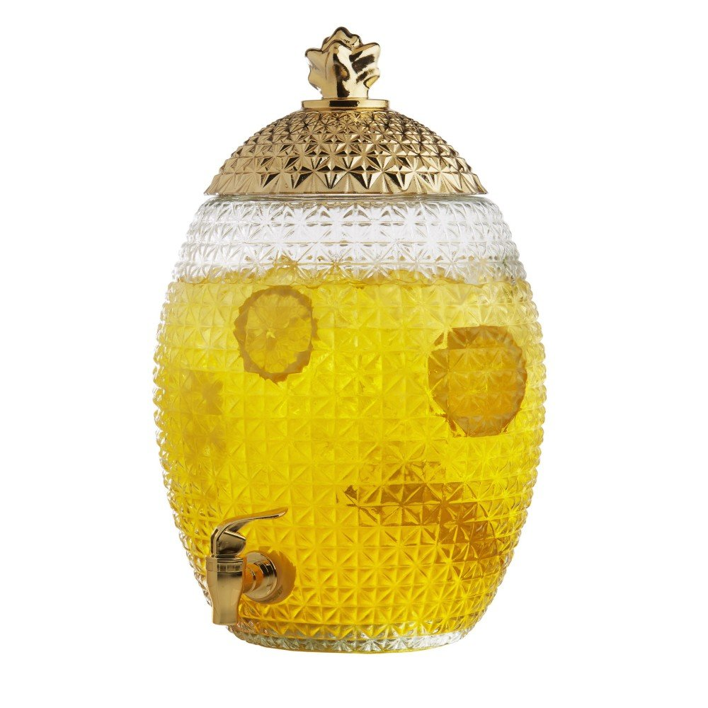 Brilliant - Large Pineapple Glass Beverage Dispenser with Copper Lid and Spout, 10 Liters