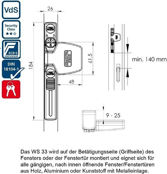 Burg-W/ächter Winsafe WS 33 W SB Cierre para Puertas y Ventanas 184 x 74 x 37 mm Blanco