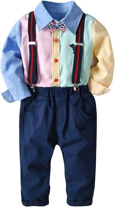 BaronHong Baby Boy Color Block Clothes Set Camisa + Chaleco + ...