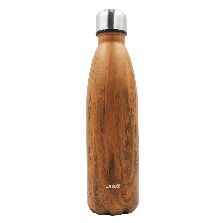 DJSBZ Vacuum Cola Shape Double Walled 18/8 Stainless Steel Water Bottle Leak-proof Keep Hot & Cold, Travel Sports Personalized Metal Water Bottle,17 Oz (500 ml) Wood Grain by DJSBZ (Image #1)