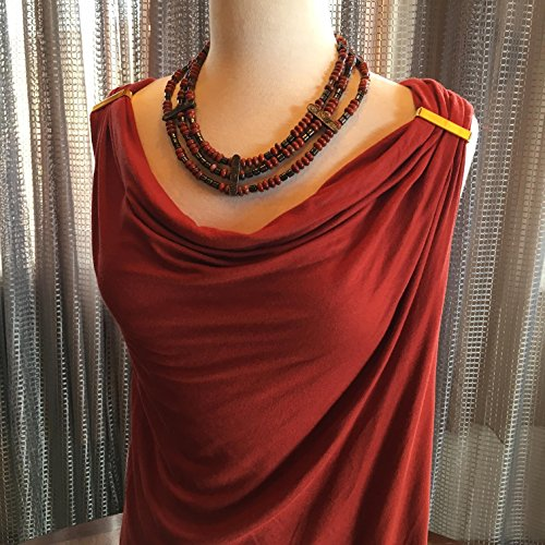 Custom Couture Medium Rust Cowl tshirt with red jasper multi strand statement necklace