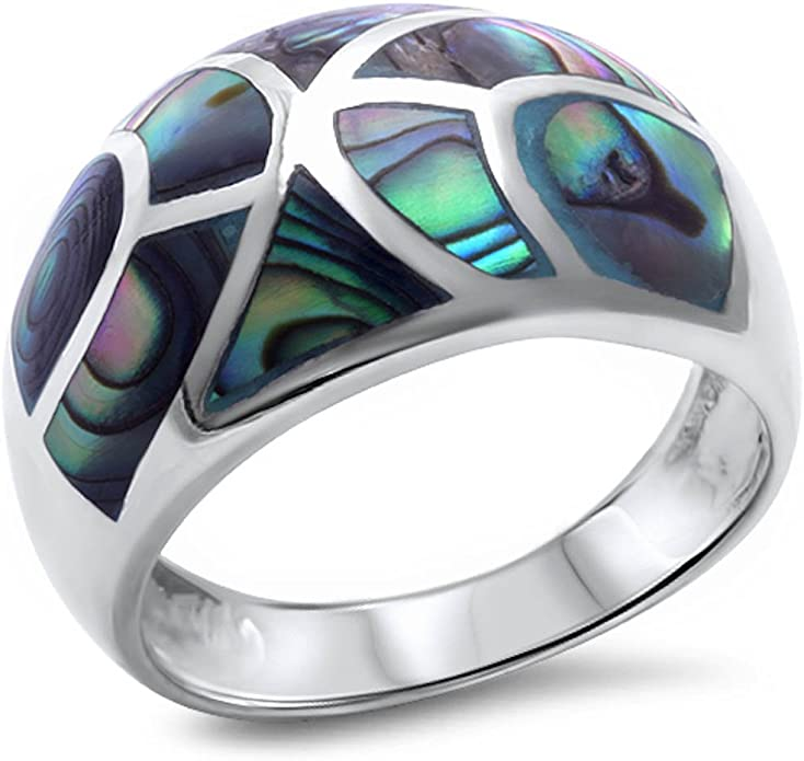 1 Cool Paua Abalone Shell 925 Sterling Silver Adjustable Sz 6 Ring