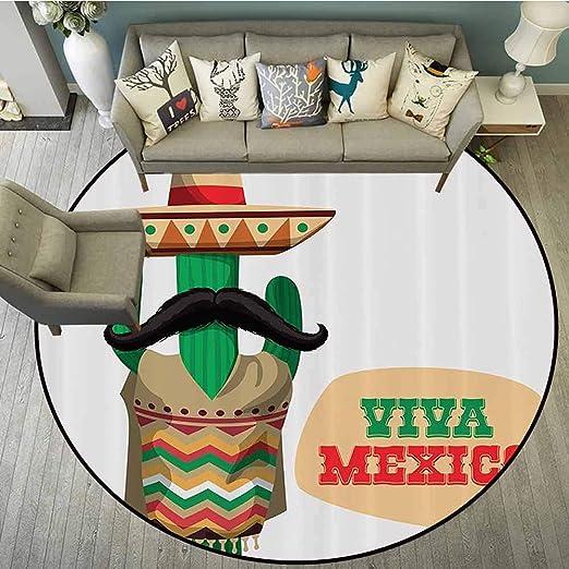 Tapete Redondo para Piso, decoración Mexicana, para Fiestas y Sombreros, diseño de Paja, con imágenes de Acuarelas, para Interior/Exterior, Redondo, Color Verde y Naranja: Amazon.es: Hogar