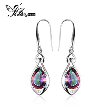 19e8e390a60 Amazon.com  Water Drop 6.7ct Genuine Rainbow Fire Mystic Topaz Dangle  Earrings Pure 925 Sterling Silver Fine Jewelry For Women  Everything Else