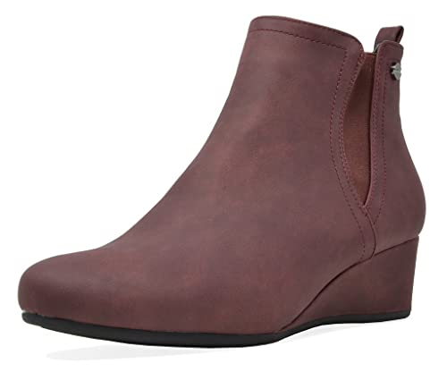 fbcaac2eb64 DREAM PAIRS Women's New Zoie Burgundy Low Wedge Heel Ankle Boots Size 5 B(M