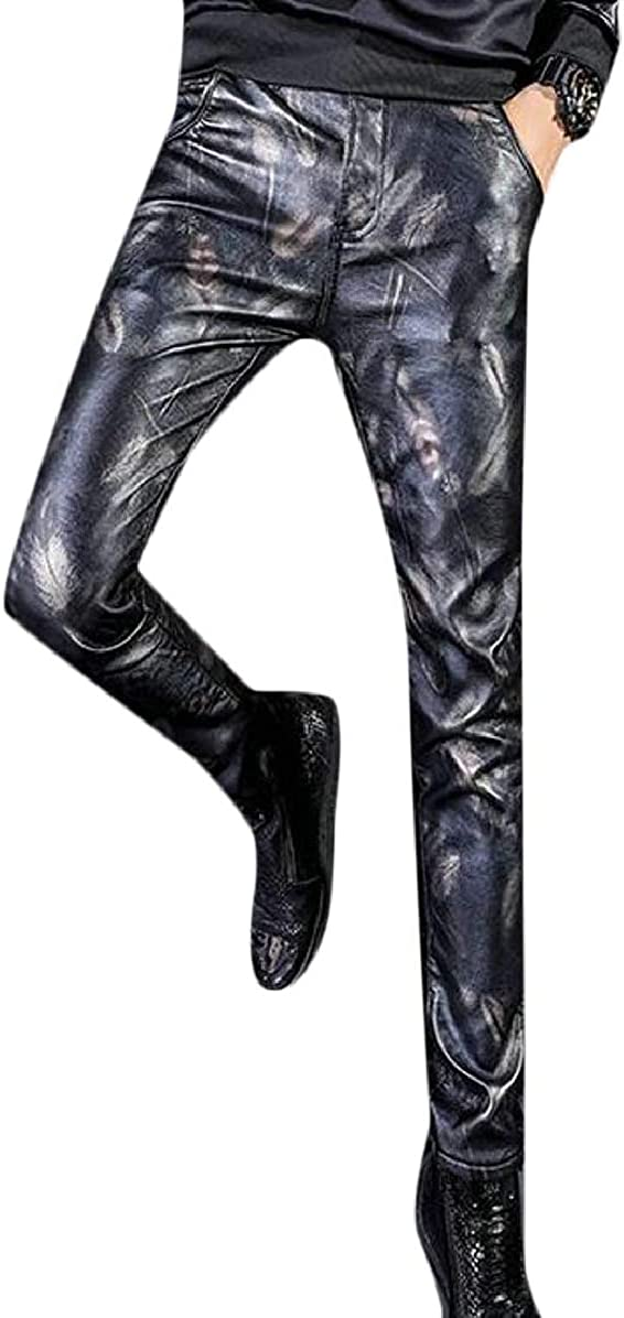 ONTBYB Mens Casual Faux PU Leather Moto Biker Pants Print Trousers