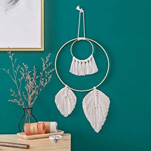 Dream Catcher Macrame Woven Wall Hanging Decorations Feather Boho Chic Fringe Art Wall Decor Cotton Ornaments Leaf Tassel Home Decor for Apartment Dorm Room LivingRoom Bedroom Home Wall Decorations