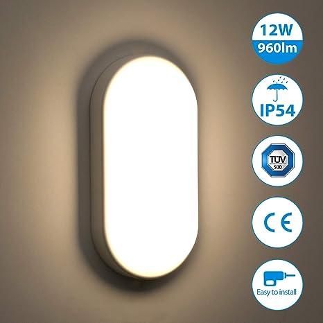 Oeegoo LED 12W lámpara de techo resistente al agua IP54, Moderna LED Luz de Techo delgada 960lm para Baño Dormitorio Cocina Sala de estar Comedor ...