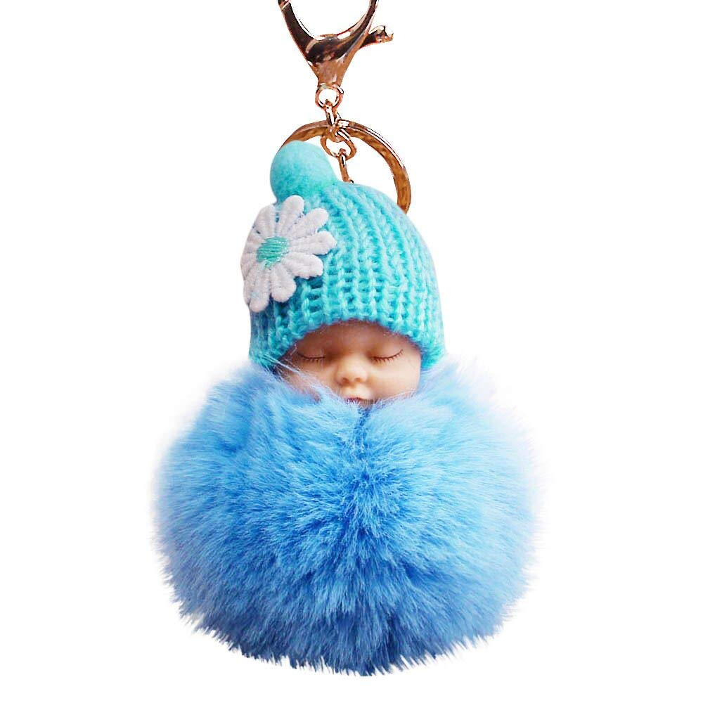 Fxbar Cute Fur Fluffy Pompom Sleeping Baby Doll Key Chains Keyrings Bags Charm Pendant