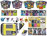Totem World Pokemon Premium Collection 100 Cards with GX Mega EX Shining Holo 10 Rares 4 Booster Pack - 100 Sleeves - Ultra Ball Theme Card Case - Deck Box and Figure
