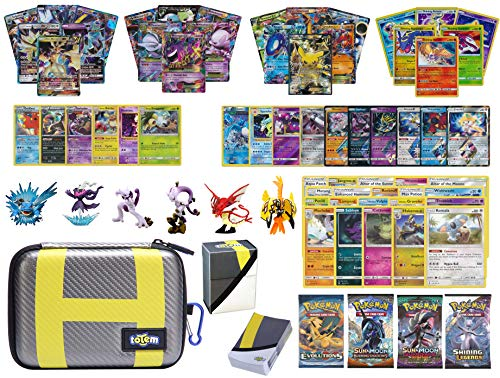 (Totem World Pokemon Premium Collection 100 Cards with GX Mega EX Shining Holo 10 Rares 4 Booster Pack - 100 Sleeves - Ultra Ball Theme Card Case - Deck Box and Figure)