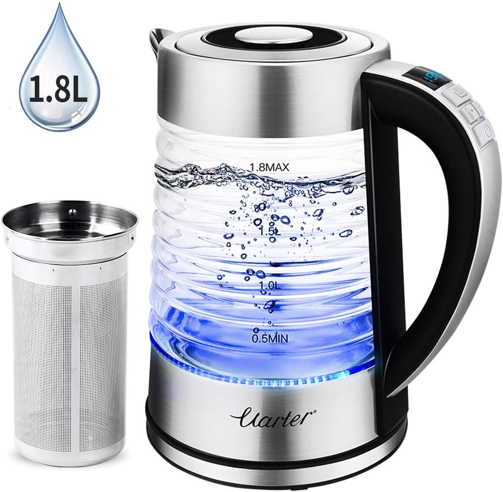 1.8L Electric Glass Kettle 1500W BPA-Free Electric Tea Kettle with Adjustable Temperatures, Cordless Glass Boiler 1-24H Keep Warm Auto Shut Off, Fast Boiling Water Kettle with Blue Light