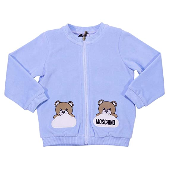 7bf5d685a Moschino Baby Boy Pale Blue Chenille Zip up Sweater Mod ...