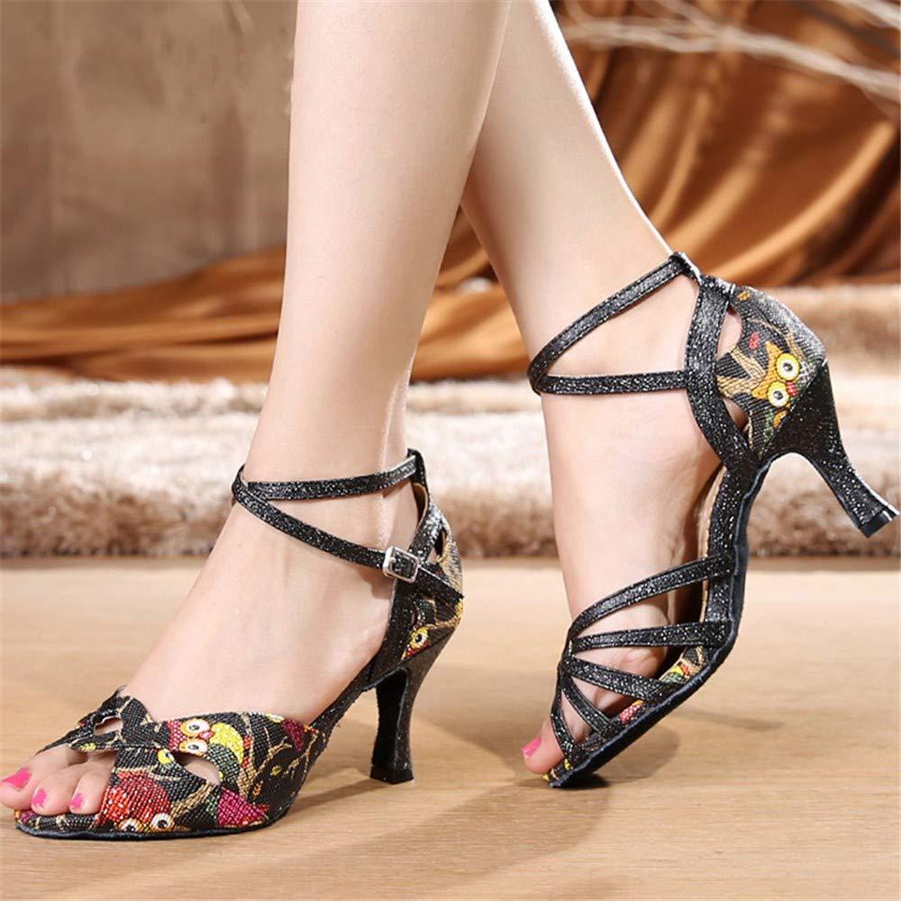 HCCY Chaussures de Danse Latine /à Talons Hauts pour Dames Adultes en Cuir Noir