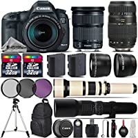Canon EOS 5D Mark III DSLR Camera + Canon 24-105mm IS STM Lens + Tamron 70-300mm Di LD Macro Lens + 650-1300mm Telephoto Lens + 500mm preset Zoom Lens + 0.43X Wide Angle - International Version