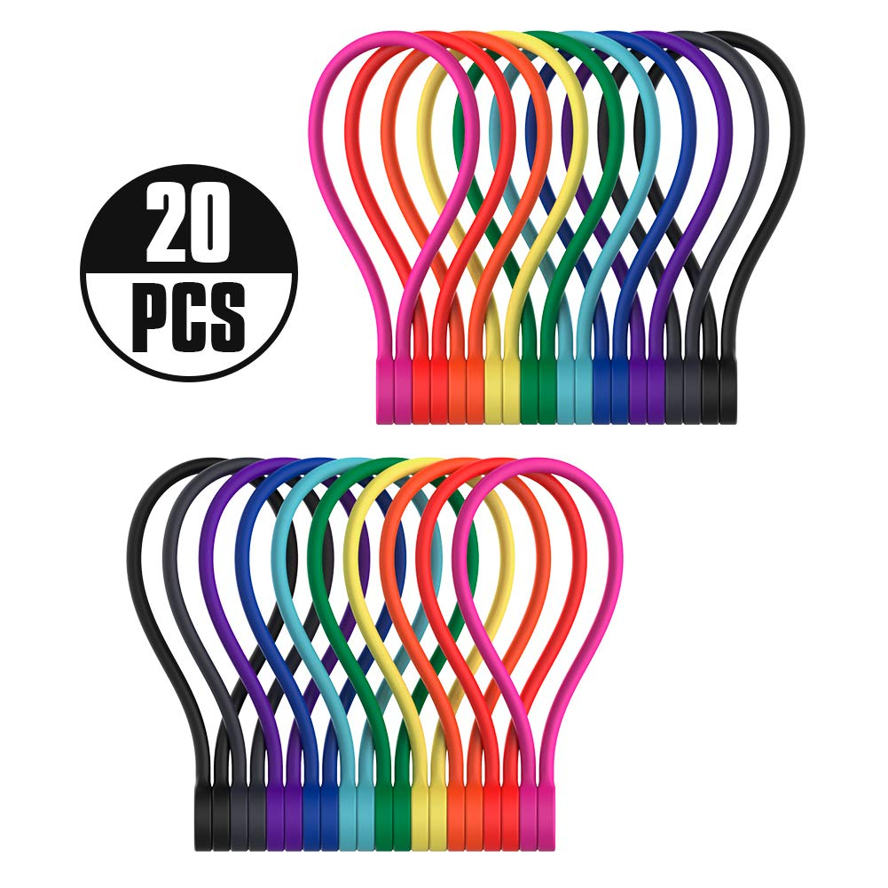 Smart&Cool Silicone Strong Magnetic Cable Ties/Magnetic Twist Ties for Bundling and Organizing, Can Be Used in Many Ways or Just for Fun (10 Colors-20Pack)