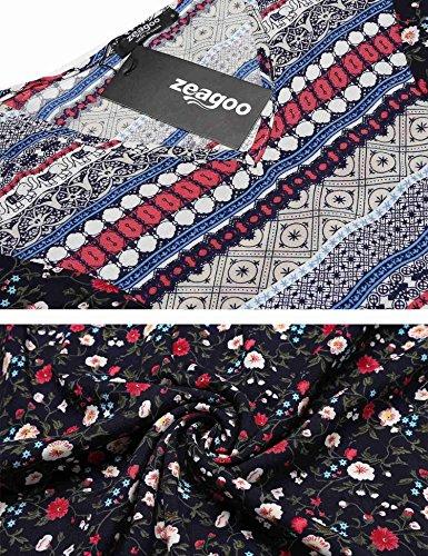 Zeagoo Women's O-Neck Long Sleeve Tunic Loose Casual Bohemian Dress