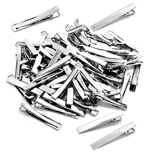 BronaGrand 100 PCS Silver Alligator Hair Clip Flat Top with Teeth for Arts & Crafts Projects, Dry Hanging Clothing, Office Paper Document Organization,Hair Care(2.4 Inch)