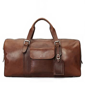 BRUNE Tan Genuine Leather Duffel Bag For Men Hand Made And Hand Painted Gym  Bag a16ffcfb85b31