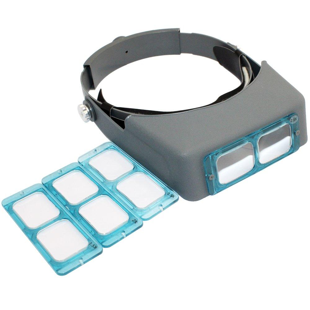 SKYZONAL Headband Magnifier Jewelry Visor Opitcal Glass Binocular Magnifier With Lens -1.5X 2X 2.5X 3.5x Magnification, 4'' Focal Length