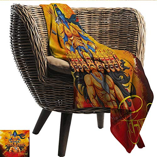 (EwaskyOnline Ethnic Blanket Ethnic Festival Poster Inspired Design Figures Mighty King Lord Arrows and Bow Print Blanket on Bed Sofa Bedding 40