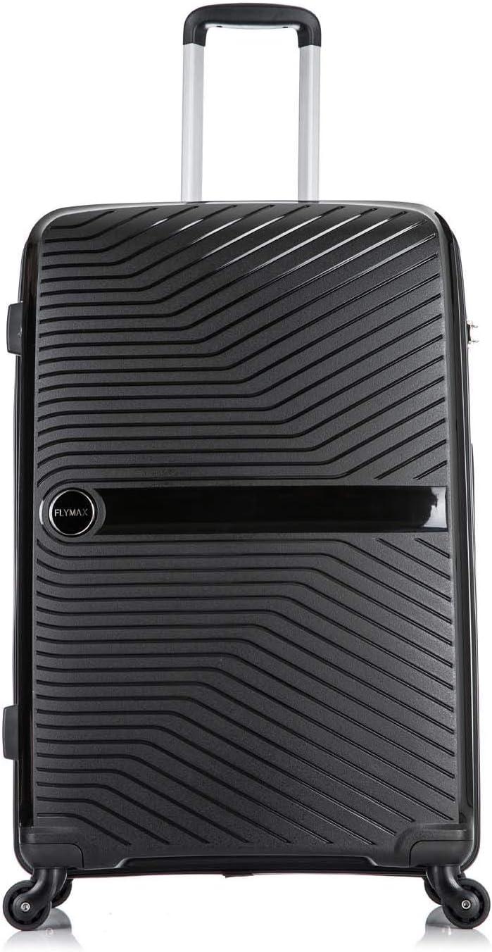 Flymax Grande valises sur 4 Roues /à Coque Rigide l/ég/ère et Durable /à Enregistrement en soute Bagages int/égr/és /à 3 Chiffres Noir Noir 24 Medium