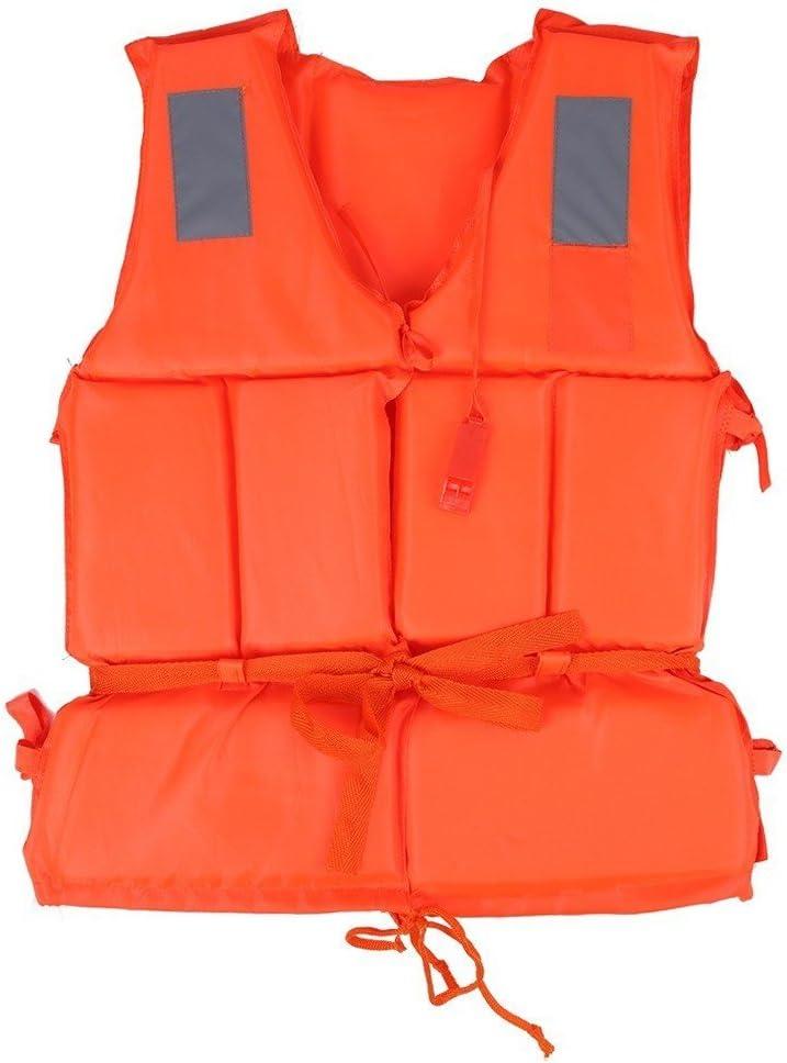 個人ライフベストライフジャケット水泳ボートビーチアウトドアサバイバルAid安全ライフジャケットベストwith点ホイッスル Child オレンジ