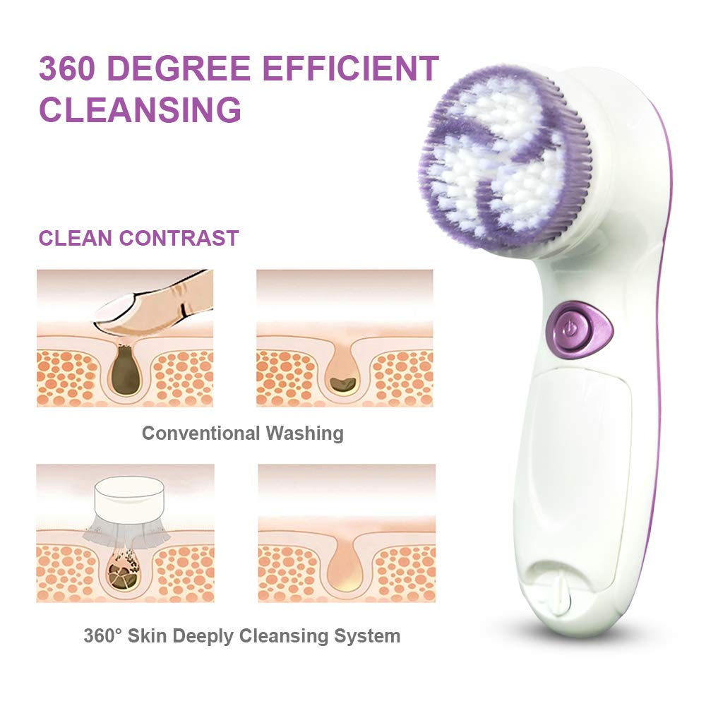 Cozy Sunday Facial Cleansing Brush, Waterproof Face Spin Brush Set with 5 Brush Heads, Facial Cleanser Brush for Skin Care, Deep Cleansing, Gentle Exfoliating, Removing Blackhead, Massaging