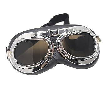 df5972350d Vintage Gafas Aviador Piloto Cromo Universal para Motocicleta - Marrón  oscuro