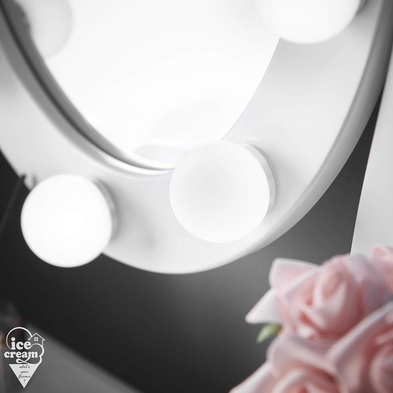 Sgabello cassetti IceCreamLiving Lussuoso tavolino da toeletta Hollywood con luci a LED e Specchio Gioielli Dt001 Plug Grey per Camera da Letto Trucco