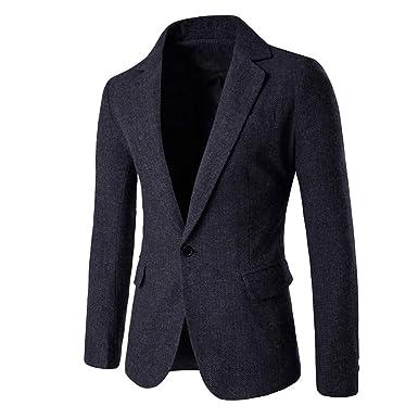 Longra-Uomo Blazer Slim Fit Uomo Casual One Button Elegante Vestito di  Affari Cappotto Giacca 951c75dedf8