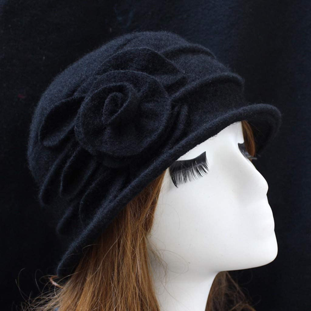 Travel Daily Life Women Winter Wool Bucket Hat 1920s Vintage Cloche Bowler Cap with Bow//Flower Accent for Party Black Street Business Ladies Elegant Wool Flower Hat Shopping