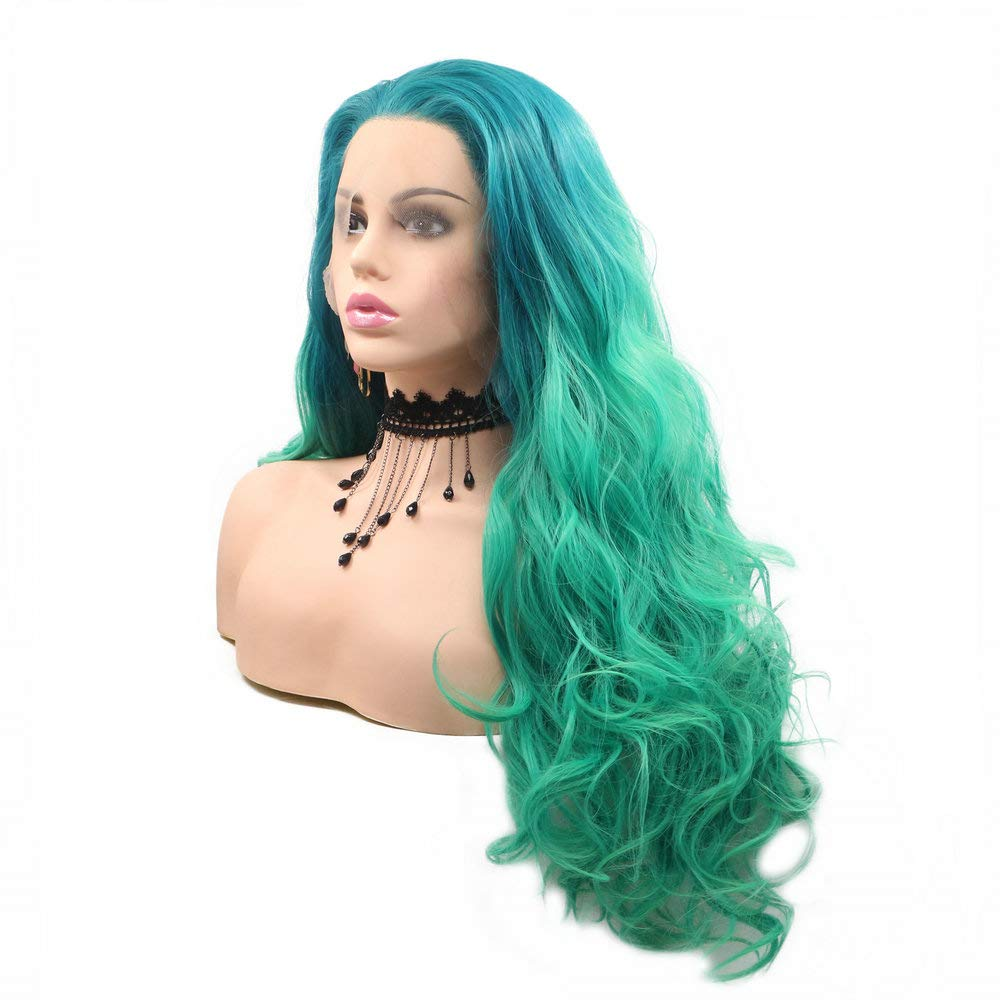 Ombre Green Lace Front Wig,Mermaid Green Synthetic Lace Front Wigs for Women Cosplay Makeup,Natural Hairline Free Parted Long Wavy Hair Glueless Cap Drag Queen Wigs 24