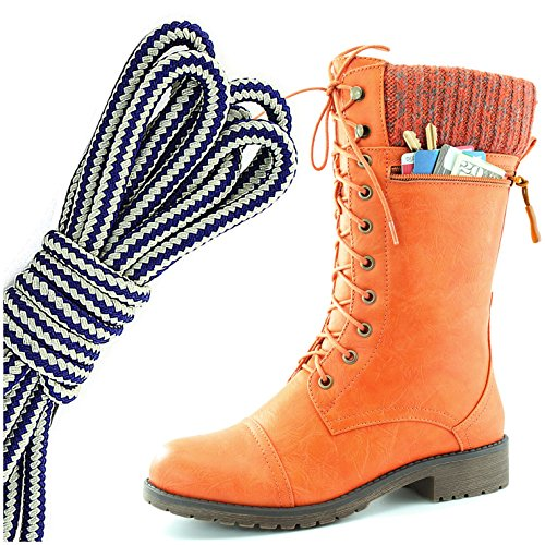 DailyShoes Womens Combat Style Lace up Ankle Bootie Round Toe Military Knit Credit Card Knife Money Wallet Pocket Boots, Navy Blue White Orange Pu