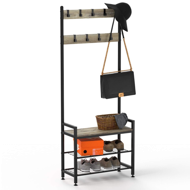 3 Tier Steel Coat Rack Entryway Shoe Bench Storage Shelf Organizer with Hooks