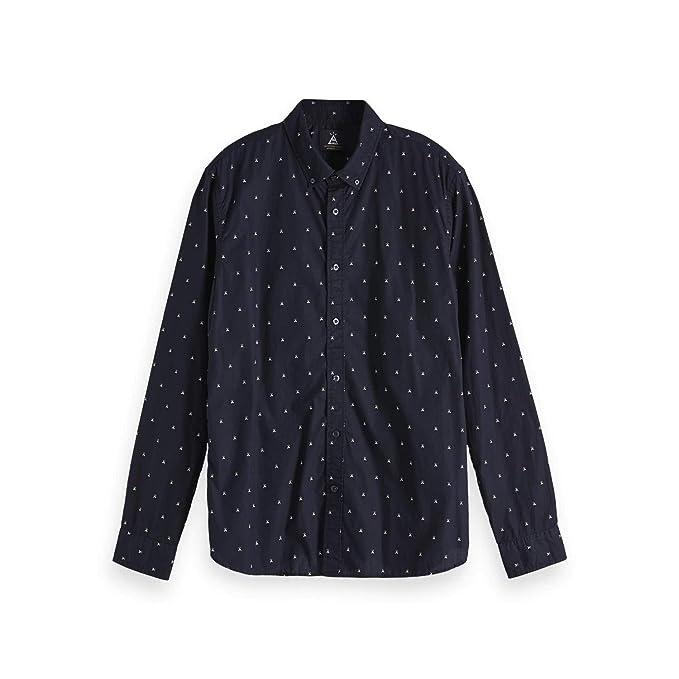 Fit Blauw Allover Seasonal Shirt amp; In Print Ams Scotch Soda Regular qwYtXFS6