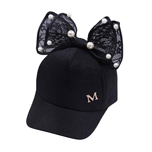 Tloowy Adorable Kids Toddler Baby Girl Princess Party Pearl Lace Bowknot Baseball  Hat Summer Sun Hat fc017a2cbd0