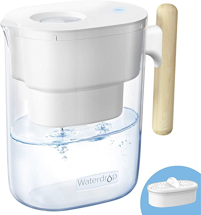 𝟮𝟬𝟬-𝗚𝗮𝗹𝗹𝗼𝗻 𝗟𝗼𝗻𝗴-𝗟𝗮𝘀𝘁𝗶𝗻𝗴 Chubby 10-Cup Water Filter Pitcher with 1 Filter, NSF Certified, 5X Times Lifetime, Reduces Lead, Fluoride, Chlorine and More, BPA Free, White, by Waterdrop