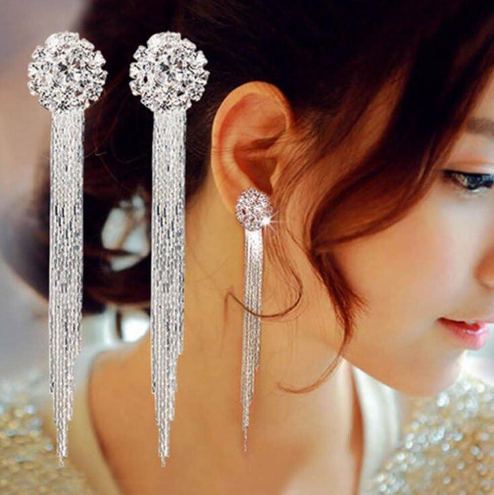 Crytech Dainty Luxury Large Cubic Zirconia Diamond Ear Stud Earrings Gorgeous Sterling Silver Plated Long Chain Tassel Statement Stud Earrings for Women Bridal Wedding Banquet Jewelry