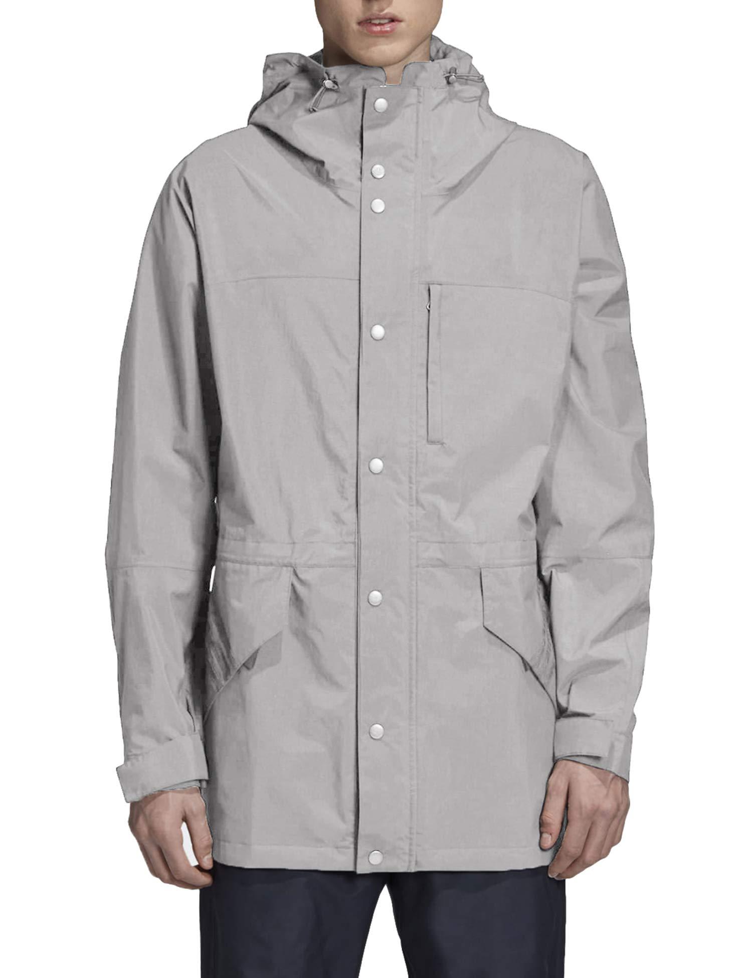 COOFANDY Men's Waterproof Rain Jacket Lightweight Windbreaker Active Outdoor Hooded Long Raincoat Gray by COOFANDY
