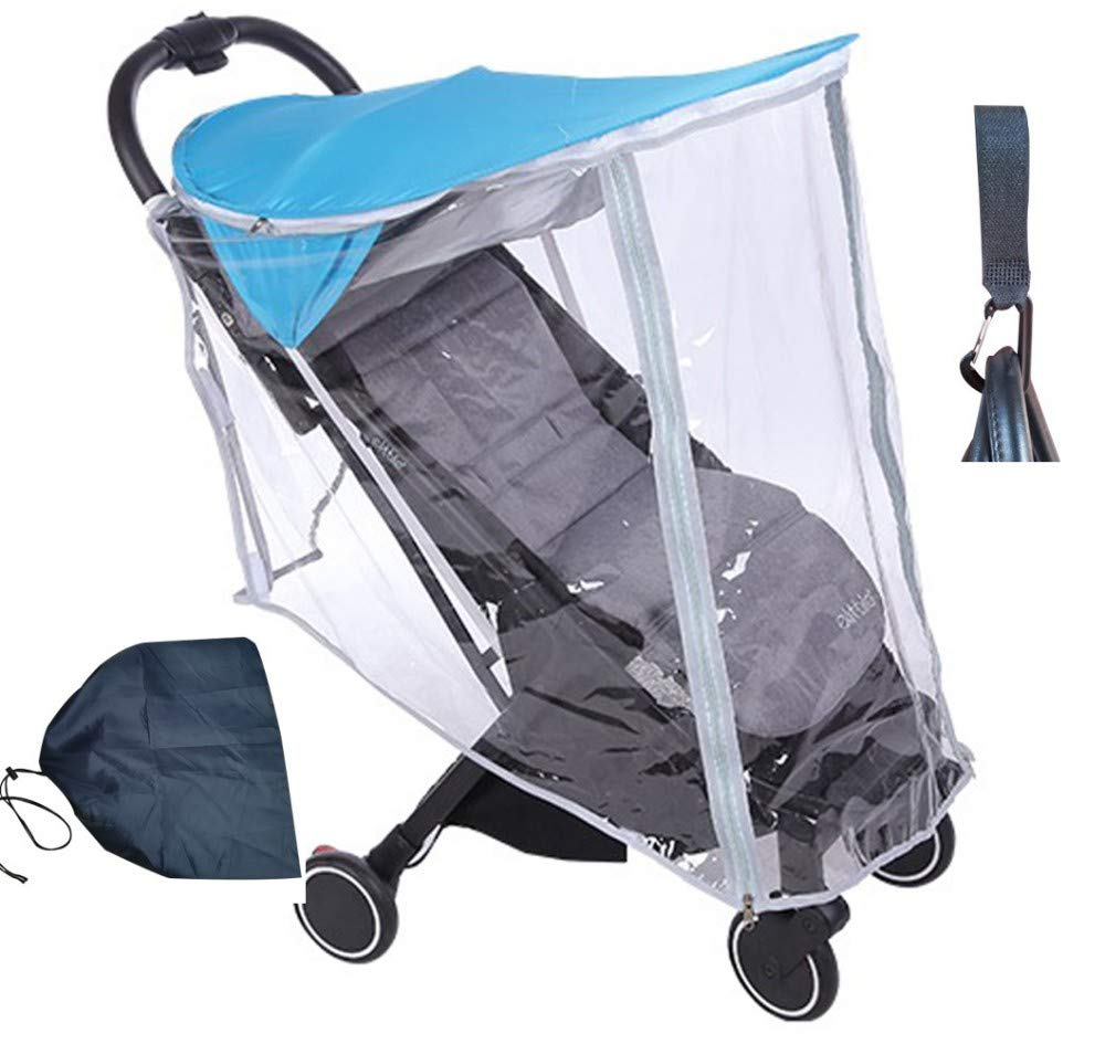 2-in-1 Stroller Sun Shade Universal Rain Cover, Awning Canopy Extender, Anti-UV Umbrella, Rayshade, Weather Shield, Waterproof, A Pouch & Hook for Free,Blue