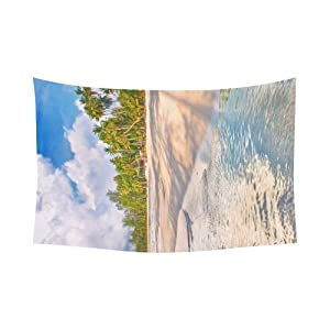 Unique Debora Custom Wall Tapestry Sea On The Tropical Beach 60x51 Inch Cotton Linen Tapestry Wall Hanging Art 60WD83