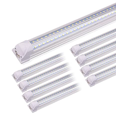 cheap for discount 56497 6fbf5 Kihung 8FT LED Shop Lights for Garage, V Shape T8 Integrated Tube Light  Fixture, 6000K Daylight. 9000LM, 75W, LED Tube Light Replacement, Linkable  ...