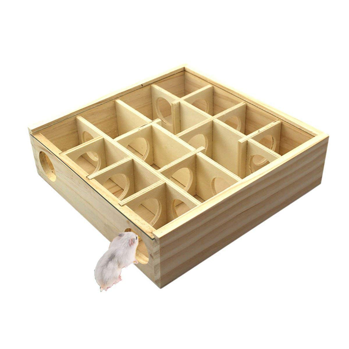 Wooden Maze Tunnel Toy with Cover Dwarf Hamster Maze Toy Safe for Small, Tiny, Mini Furry Animals, Child Gerbil Hole (Burlywood) by Litewood