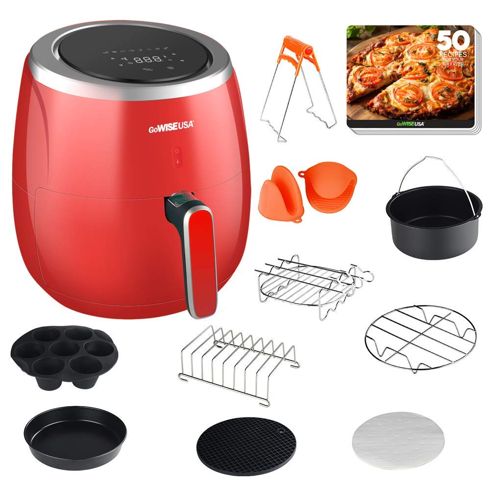 GoWISE USA GWAC982 XL 5.3-Quart Air Fryer with Accessories, 10 Piece, 8 Cooking Presets 50 Recipes Red
