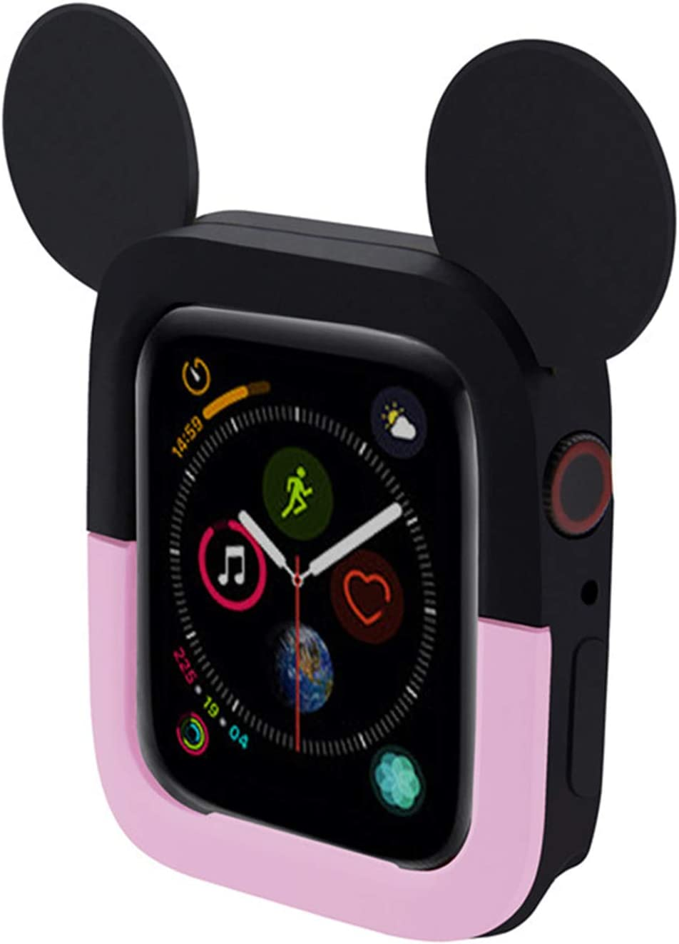 Compatible with Silicon Apple Watch Screen Protector 44mm, Soft Cute Cartoon Double Color Smart Watch Cover Shock-Proof and Shatter-Resistant Protective Case for iWatch Series 5 Series 4,Black Pink